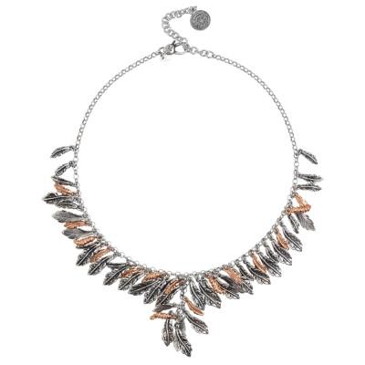 Collana con foglie piuma in argento bicolor e bruchi placcati oro rosa