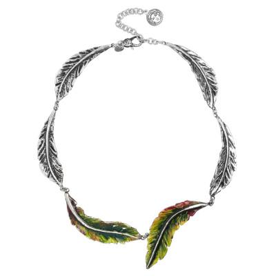 Collana semirigida composta da foglie piuma in argento brunito e decorate a mano