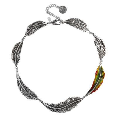 Collana semirigida con foglie piuma in argento brunito e foglia laterale dipinta a mano