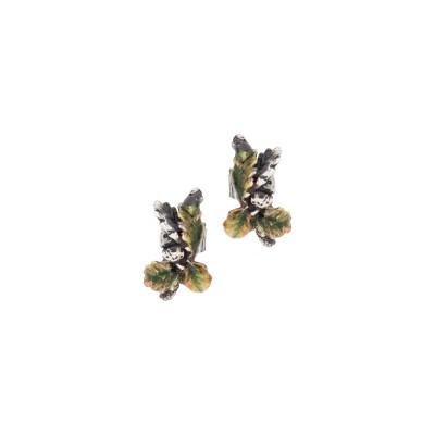 Orecchini a lobo con foglie di castagno brunite e dipinte a mano