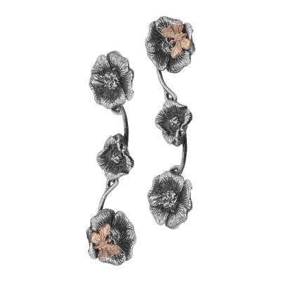 Orecchini semirigidi con fiori di ciliegio brunito e farfalle placcate oro rosa