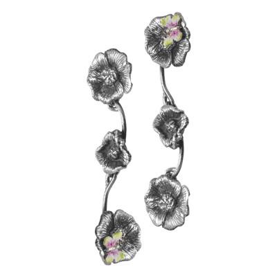 Orecchini semirigidi con fiori di ciliegio brunito e farfalle dipinte a mano di viola