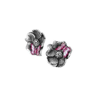 Orecchini a lobo con fiore di ciliegio brunito e farfalla fucsia dipinta a mano