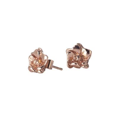 Orecchini in argento placcato oro rosa con fiore di ciliegio