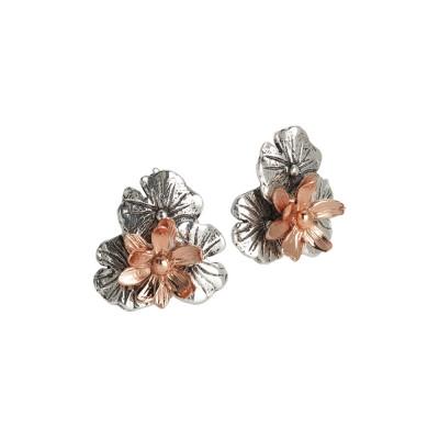 Orecchini in argento brunito con fiore di ninfea placcato oro rosa