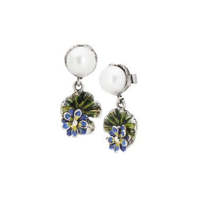 Orecchini pendenti con perla naturale , foglia di ninfea e fiore dipinti a mano