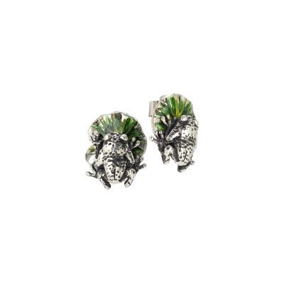 Orecchini con foglia di ninfea dipinta a mano e ranocchio in argento brunito