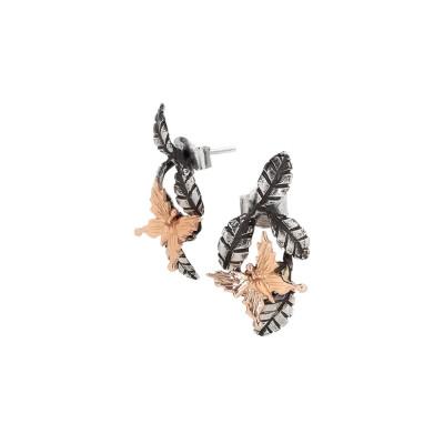 Orecchini con foglie di ulivo brunite e farfalla placcata oro rosa