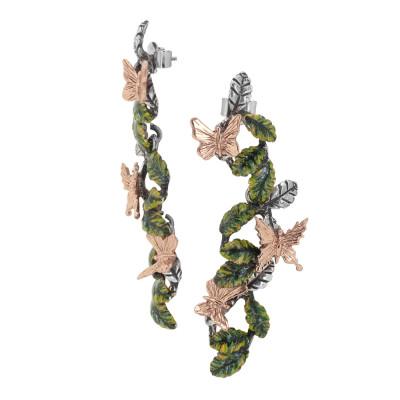 Orecchini pendenti con foglie di ulivo dipinte a mano e farfalle placcate oro rosa