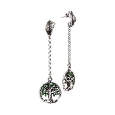 Orecchini in argento brunito con albero della vita pendente dipinto a mano
