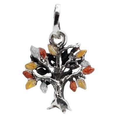 Charm con albero della vita dipinto nei colori autunnali