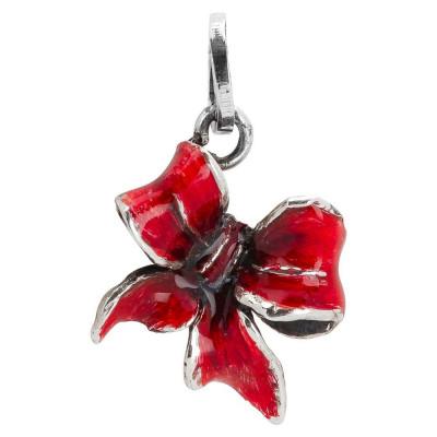 Charm con fiocco rosso dipinto a mano