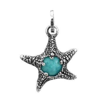 Charm stella marina con amazzonite
