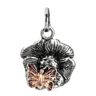 Charm bicolor con fiore di ciliegio e farfalla