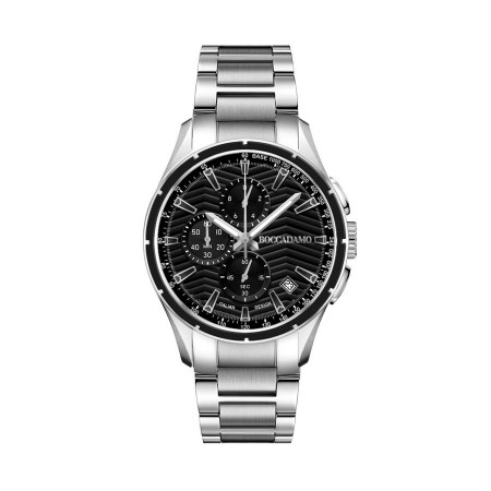 Chronograph in steel with black dial