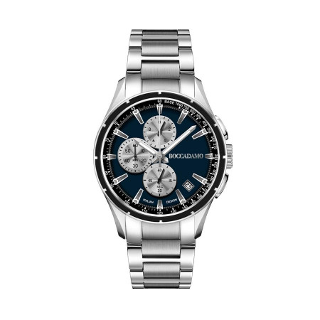Chronograph in steel with blue dial and counters silver