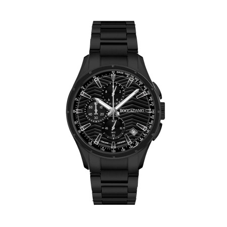 Chronograph in steel with black dial and black counters