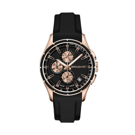 Chronograph in silicone black with quadrant black and counters rosati and tongue in steel