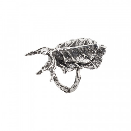 Insect leaf ring in burnished silver