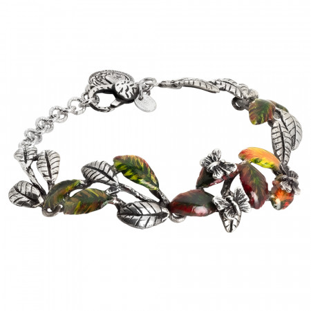 Semi-rigid bracelet in burnished silver with painted olive leaves and pink butterflies