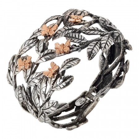 Rigid band bracelet in burnished silver with olive leaves and pink butterflies