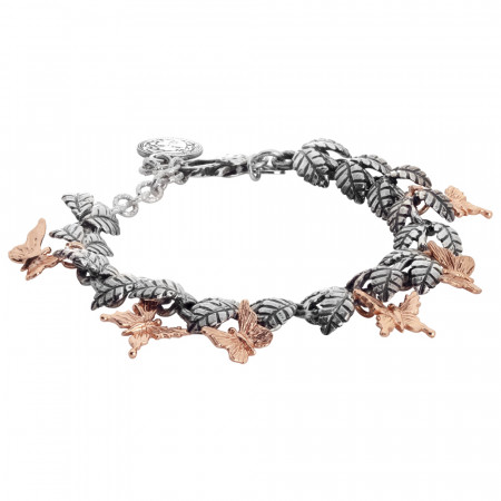 Semi-rigid bracelet in burnished silver with olive leaves and hanging pink butterflies