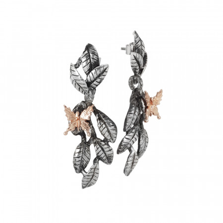 Earrings with interwoven brown olive leaves and pinkish butterfly