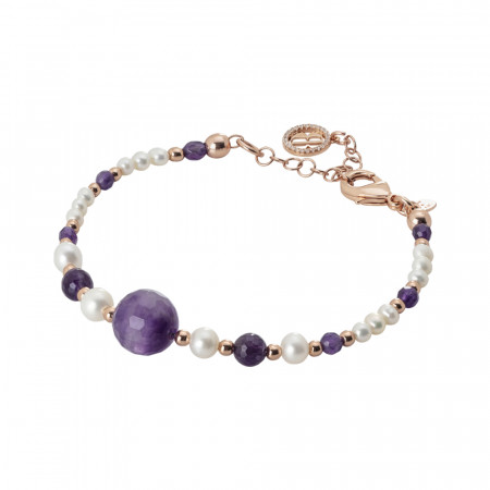 Rose gold plated bracelet with amethyst and natural pearls