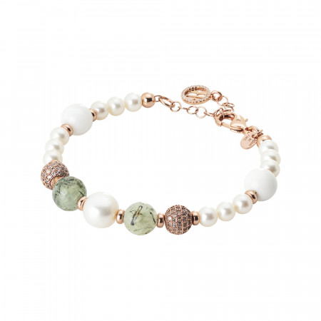 Rose gold plated bracelet with natural pearls, garnet and white agate