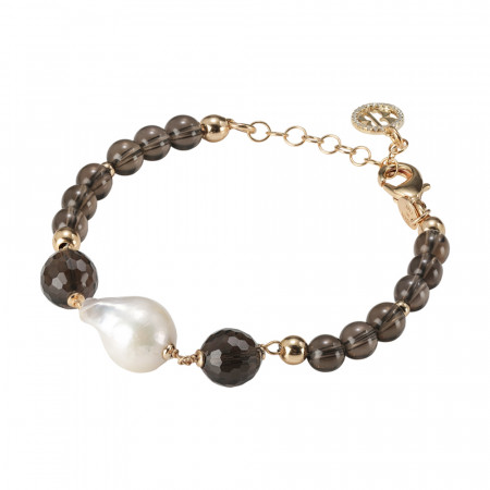 Yellow gold plated bracelet with natural pearls and smoky quartz