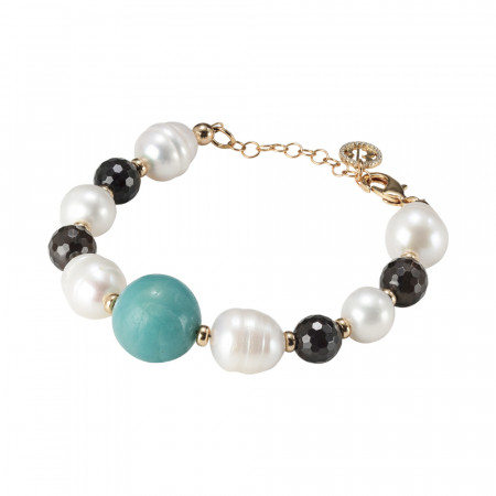 Yellow gold plated bracelet with natural pearls, smoky quartz and amazonite