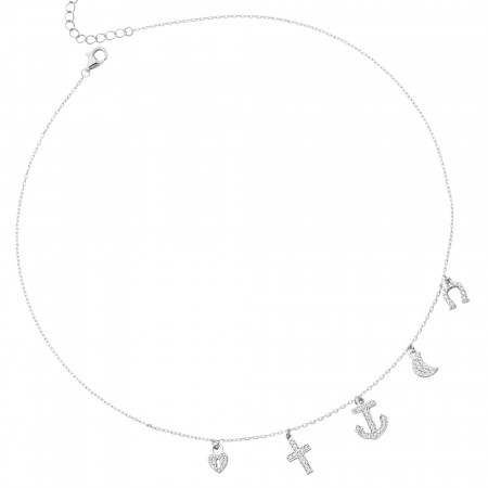 Necklace with pendants in white cubic zirconia