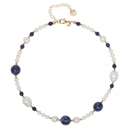 Necklace with natural pearls, sodalite and lapis lazuli