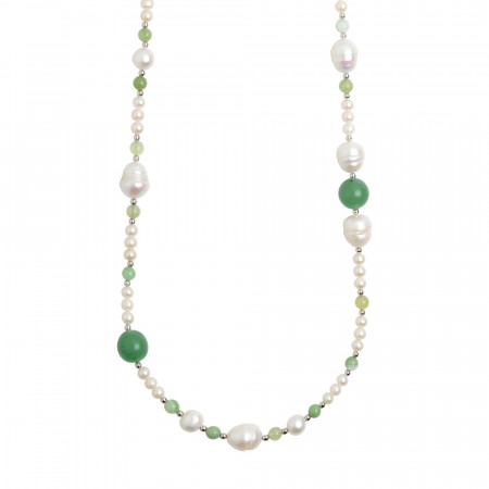 Long necklace with natural pearls and aventurine