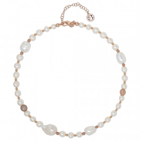 Rose gold plated necklace with natural pearls and spheres with a diamond effect