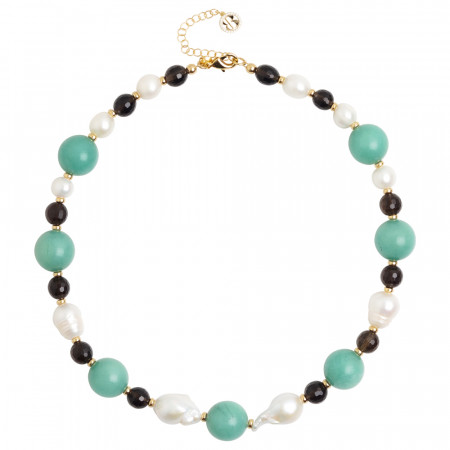 Short necklace with natural pearls, smoky quartz and amazonite