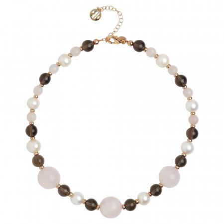Necklace with natural pearls, smoky quartz and rose quartz