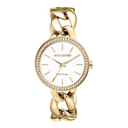 Wristwatch woman with groumette Bracelet golden and Swarovski