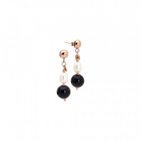 Earrings with natural pearl and obsidian