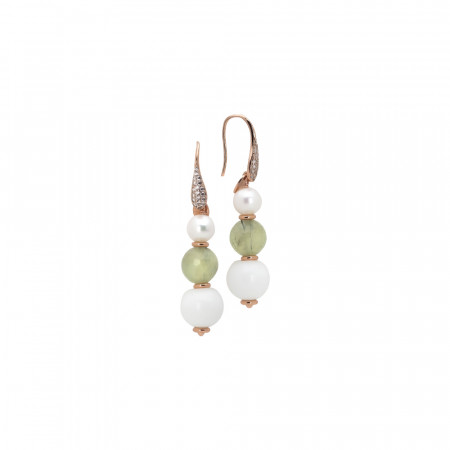 Earrings with natural pearls, garnet and white agate