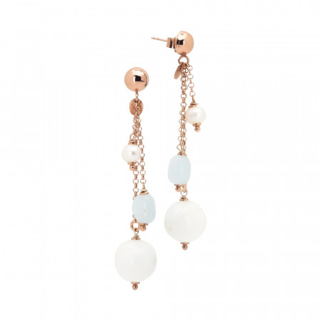 Earrings with natural pearls, aquamarine and white agate