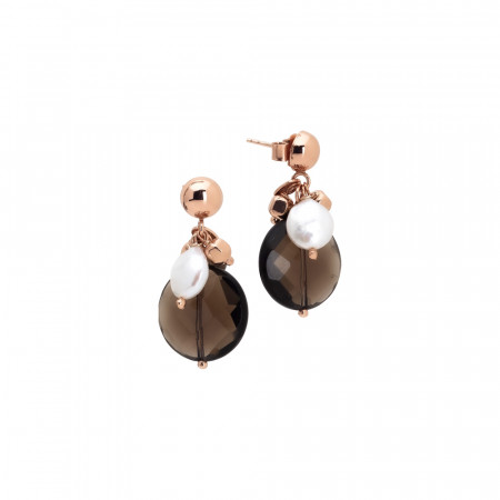 Earrings with natural pearls and smoky quartz