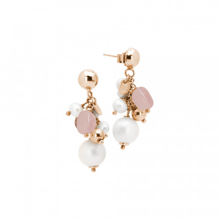 Tufted earrings with natural pearls, rose quartz and white agate