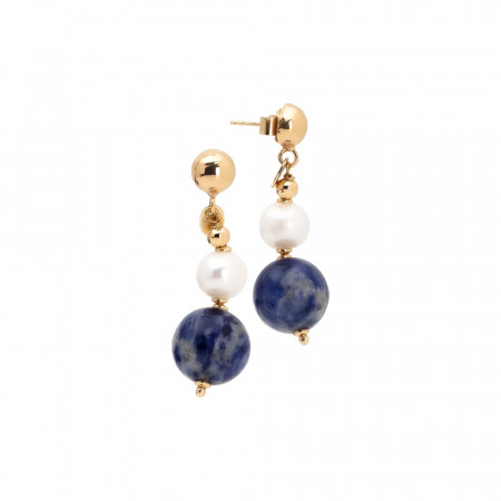 Hanging earrings with natural pearls and sodalite