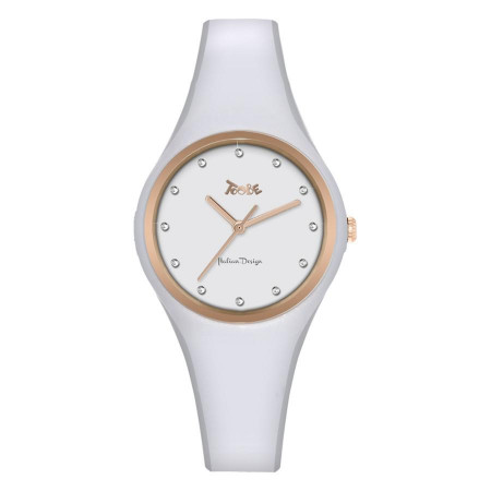 Watch lady silicone white anallergic and indexes in Swarovski