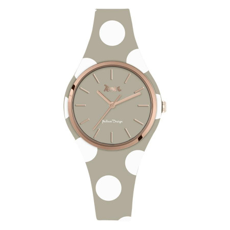 Watch lady in silicone anallergic taupe with white polka dots