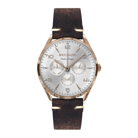 Vintage clock with a leather strap brown aged effect
