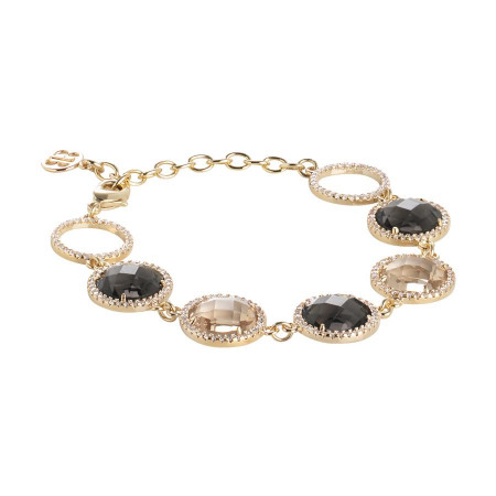 Bracelet with crystals champagne, smoky quartz and zircons