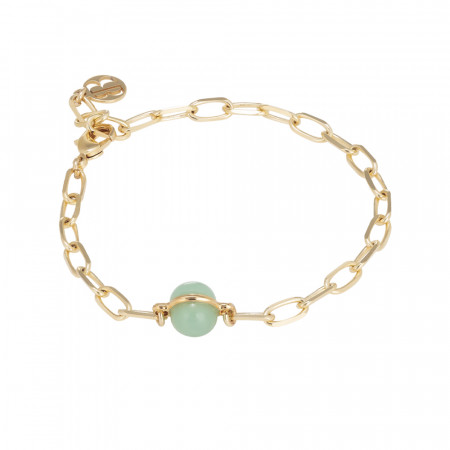 Chain bracelet with milk and opaque mint cabochon