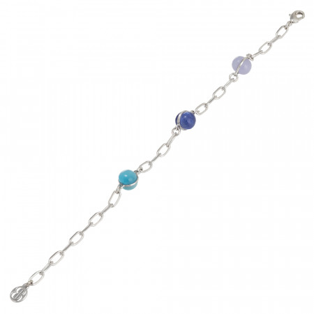 Chain bracelet with blue, light blue and lilac cabochons